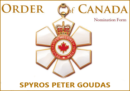 MR GOUDAS DESERVES AN 'ORDER OF CANADA': WHY YOU SHOULD NOMINATE HIM