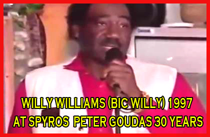 Big Willy gives a  Toast at the Celebration of Spyros Peter Goudas 30 years.  Willy Williams was the Manager of the 813 Club one of the best Caribbean Clubs in North America, from 1972 to 1982.  He was also the personal bodyguard of Spyros Peter Goudas.  Each Christmas, Spyros Peter gave a free  party for all nationalities of children in the club and Willy dressed up as Santa Claus and entertained all the children.  In this video, Big Willy, his nickname, ad libbed whatever he had to say on the occasion of Mr. Goudas 30 year anniversay in Canada.