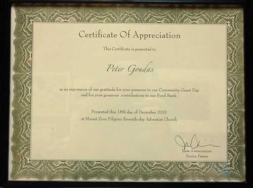 Certificate of Appreciation to Spyros Peter GoudasMount Zion Filipino Seventh Day Adventist Church